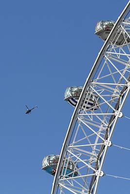 Vintage Movie Stars - London Eye And Helicopter by David Pyatt
