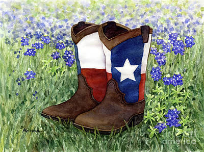 Animal Portraits - Lone Star Boots in Bluebonnets by Hailey E Herrera