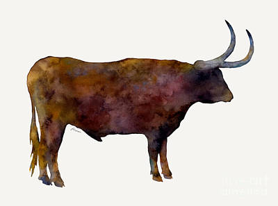 Farm Life Paintings Rob Moline - Longhorn by Hailey E Herrera
