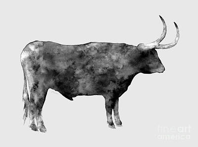 Farm Life Paintings Rob Moline - Longhorn in black and white by Hailey E Herrera