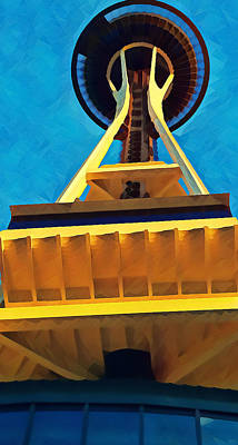 Mixed Media - Looking Up at the Space Needle by Pierce Anderson