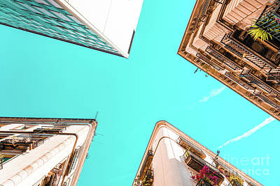 Royalty-Free and Rights-Managed Images - Looking Up, Barcelona City, Travel Print, Barcelona Poster, Architecture In Gothic Quarter, Urban by Radu Bercan