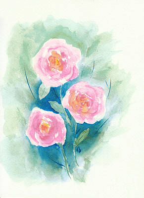 Safari - Loose Roses 4 - Pink and Yellow by Conni Schaftenaar
