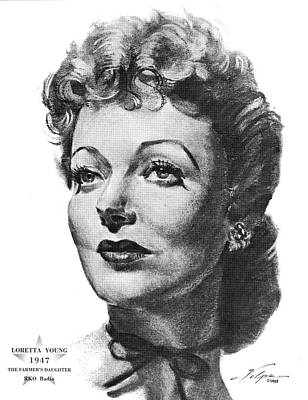 Drawings Royalty Free Images - Loretta Young by Volpe Royalty-Free Image by Stars on Art