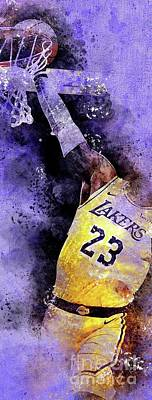 Drawings Royalty Free Images - Los Angeles Lakers 23 Basketball Team, NBA Players,Sport Prints Royalty-Free Image by Drawspots Illustrations