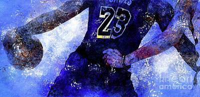 Royalty-Free and Rights-Managed Images - Los Angeles Lakers Basketball Team, NBA Players,Sport Prints by Drawspots Illustrations