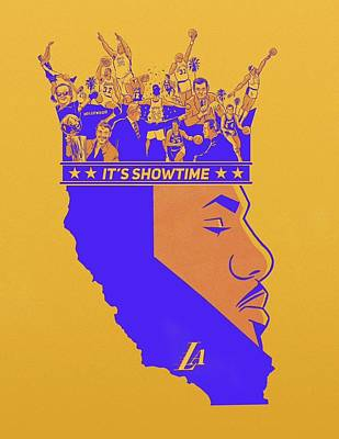 Sports Royalty-Free and Rights-Managed Images - Los Angeles Lakers Its Showtime King James  by Michael Stout