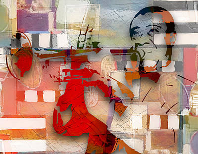 Mixed Media - Louis Armstrong Jazzed by Marvin Blaine