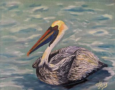 Animals Paintings - Louisiana Brown Pelican by Judy Jones