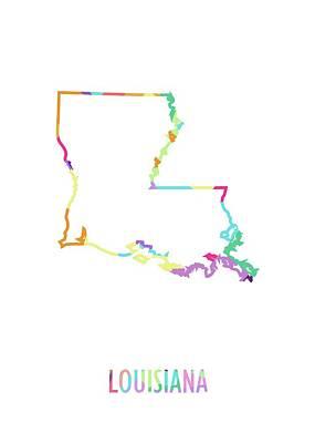 Sara Habecker Folk Print - Louisiana Pop Art Map White BG by Ahmad Nusyirwan
