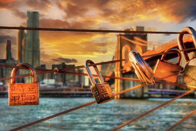 David Bowie Royalty Free Images - Love Locks - Brooklyn Bridge  Royalty-Free Image by Joann Vitali