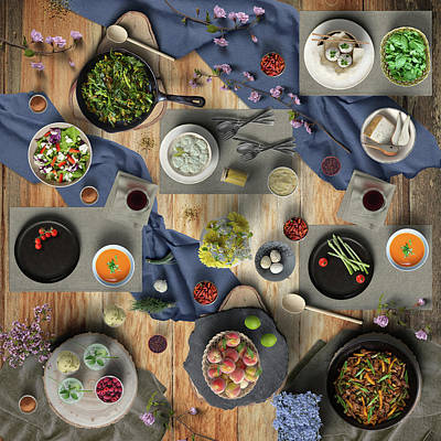 Staff Picks Judy Bernier Rights Managed Images - Lovely Vegetable Meat And Fruit Dinner Royalty-Free Image by Johanna Hurmerinta