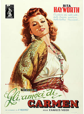 Mixed Media Royalty Free Images - Loves of Carmen poster 1949 Royalty-Free Image by Stars on Art