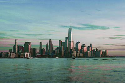Surrealism Royalty-Free and Rights-Managed Images - Lower Manhattan, NYC Skyline, New York, United States - Surreal Art by Ahmet Asar by Celestial Images
