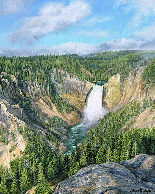 Painting - Lower Yellowstone Falls by Steph Moraca