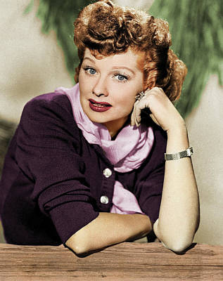 Mans Best Friend - Lucille Ball colorized by Stars on Art