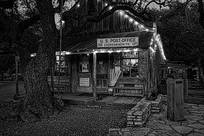 Keith Richards Royalty Free Images - Luckenbach at Night Black and White Royalty-Free Image by Judy Vincent