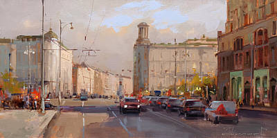 Painting - Lucky movement. Moscow, Tverskaya street by Alexey Shalaev