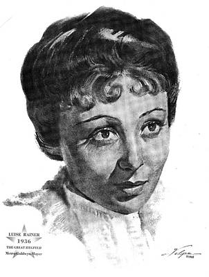Drawings Royalty Free Images - Luise Rainer 1936  Royalty-Free Image by Stars on Art