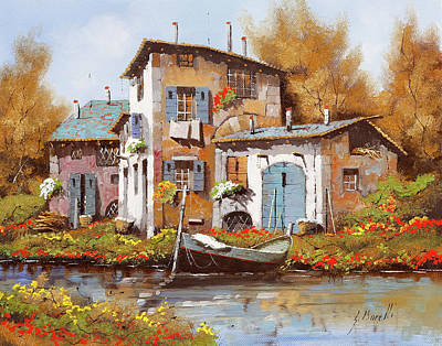 Royalty-Free and Rights-Managed Images - Tre Case Lungo Il Fiume by Guido Borelli