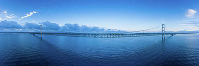 Royalty-Free and Rights-Managed Images - Mackinac Bridge Aerial Panorama by Steve Gadomski