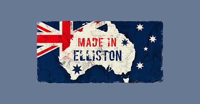 Watercolor Typographic Countries - Made in Elliston, Australia by TintoDesigns