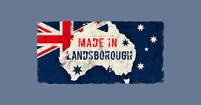 Typographic World Rights Managed Images - Made in Landsborough, Australia Royalty-Free Image by TintoDesigns