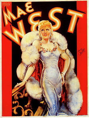 Mixed Media Royalty Free Images - Mae West publicity poster 1930s Royalty-Free Image by Stars on Art