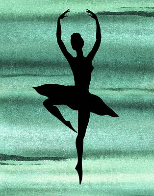 Royalty-Free and Rights-Managed Images - Magic Dance Of Watercolor Ballerina Silhouette Ballet Teal Green by Irina Sztukowski
