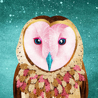 Royalty-Free and Rights-Managed Images - Magic Owl Illustration On A Turquoise Background by Julien