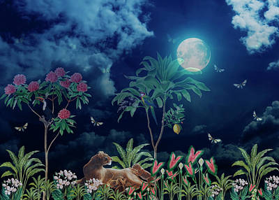 Rights Managed Images - Magical And Beautiful Jungle Night Royalty-Free Image by Johanna Hurmerinta