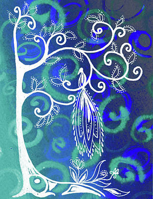 Royalty-Free and Rights-Managed Images - Magical Bird On Whimsical Tree Teal Blue Artwork  by Irina Sztukowski
