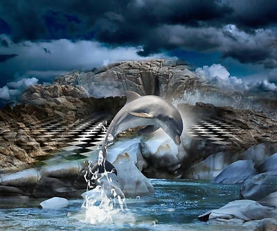 Mixed Media - Magical Dolphin by Marvin Blaine