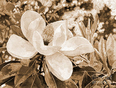 Typographic World - Magnolia Melody in sepia tone by Hailey E Herrera