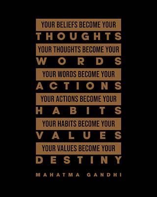 Digital Art - Mahatma Gandhi Quote - Your Beliefs become your thoughts 1 - Minimal, Typography Print - Inspiring by Studio Grafiikka