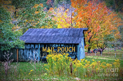 Spot Of Tea - Mail Pouch Barn in Autumn - Painted by Kathleen K Parker