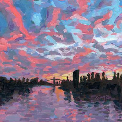 Painting - Main River at dusk by Nimrod Stark