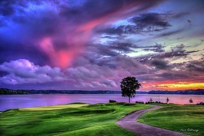 Whats Your Sign - Majestic Golf Reynolds Plantation The Landing Lake Oconee Sunset Landscape Art by Reid Callaway