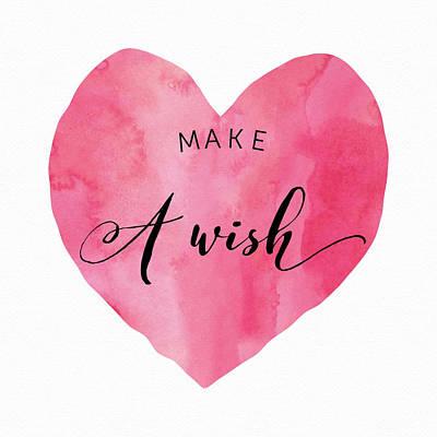 Studio Grafika Vintage Posters - Make a Wish - Pink Heart by Brandi Fitzgerald