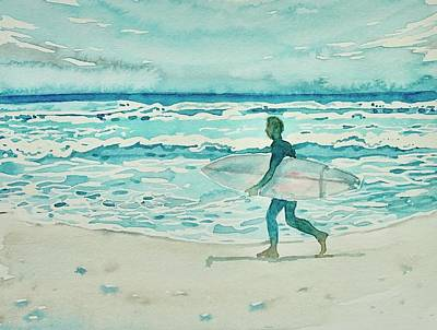Popstar And Musician Paintings - Malibu Surfer by Luisa Millicent