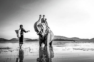 Royalty-Free and Rights-Managed Images - Man and Woman Riding Elephant on Water by Celestial Images