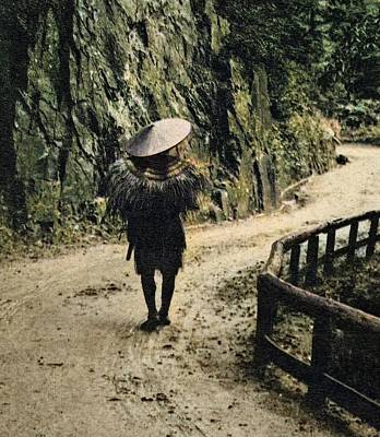 Roaring Red - Man in Rain Gear, Ishikawa Prefecture  Japanese  c. 1920s 2_colorSAI_result by Artistic Rifki