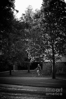 Frank J Casella Royalty-Free and Rights-Managed Images - Man on a Bike Taking a Time Out by Frank J Casella