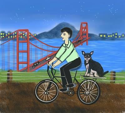 Transportation Digital Art - Man on a bike with his dog  by Mandakini Chakravarthi