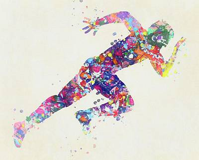Sports Paintings - Man Running Fast by Dan Sproul