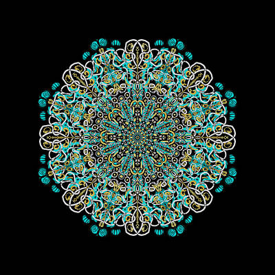 Urban Abstracts Royalty Free Images - Mandala Teal Royalty-Free Image by Eileen Backman
