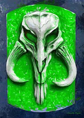 Surrealism Royalty-Free and Rights-Managed Images - Mandalorian Mythosaur Skull Green Free Style - PA by Leonardo Digenio