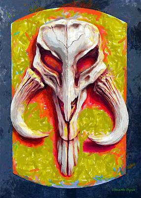 Surrealism Royalty Free Images - Mandalorian Mythosaur Skull Yellow Free Style - DA Royalty-Free Image by Leonardo Digenio