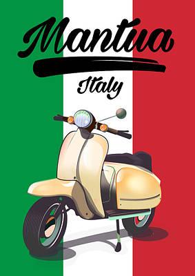 Digital Art - Mantua Italy Travel poster by David Greenaway