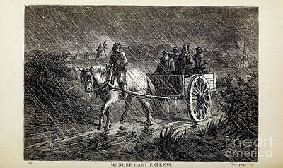 Animals Drawings - MANURE CART EXPRESS, i by Historic illustrations